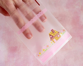"""20 pc House """"Sweet Day"""" Gift Bags Kawaii Flowers (Resealable Self Adhesive)"""