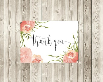 Peach and Coral Thank You Cards