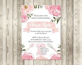 Blush Kitchen Theme Bridal Shower Invitation