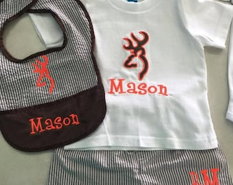Monogrammed baby boy outfit
