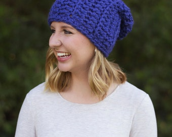 hand crocheted slouchy hat || royal || choose your color