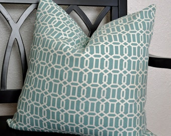 20 x 20 Pillow Cover, Teal and White Geometric Pillow Cover, Throw Pillow Cover, Ready to Ship!