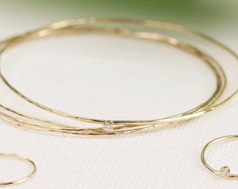 14k gold hammered bangle set, diamond bangle bracelet, set of 4 bangles, rose gold, white gold option, gol-b101, gol-b103