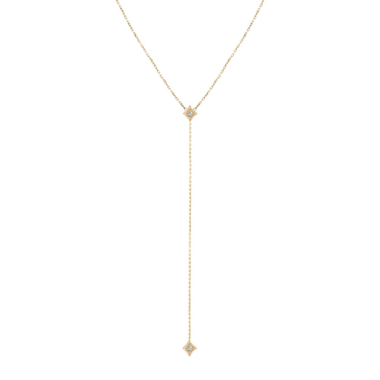 14k yellow gold chain lariat necklace star diamond drop