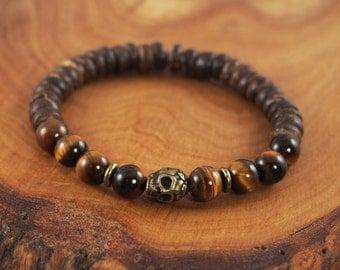 Men's Tiger's Eye Bracelet, Men's Skull Bracelet, Earthy Men's Bracelet, Men's Skull Jewelry, Men's Gemstone Bracelet, Sugar Skull Bracelet
