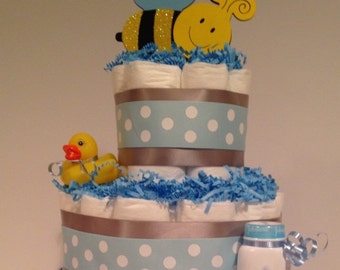 Baby Boy Diaper Cake, Baby Shower Centerpiece, Boy Diaper Cake, Baby Shower Gift, Diaper Cake