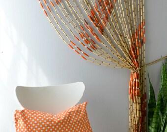 Vintage beaded door curtain; hippie door beads; bohemian bead curtain; bamboo bead door curtain