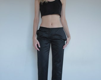Helmut Lang 90's black cotton trousers, slim and low on hips, size 40