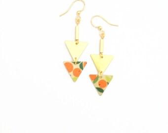 Geometric jewel | Earrings Golden geometric two orange triangles - handmade