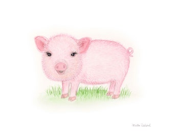 Pig art print. Baby animal nursery art. Farm barn nursery art decor. Kids room art decor. Piglet baby pig watercolor painting. Country decor