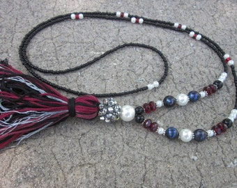 Long Beaded tassel necklace black white garnet necklace long seed bead necklace Bohemian necklace boho necklace ladies  jewelry
