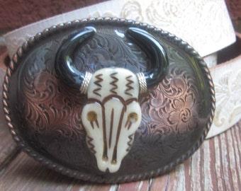 bull Steer head Copper belt buckle Engraved belt buckle texas cowboy buckle Cowgirl bohemian buckle mens belt buckle women's Belt Buckle