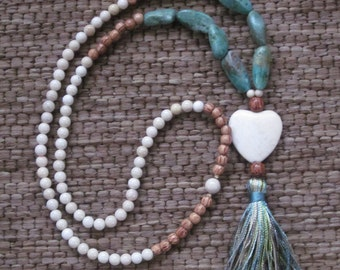 Long beaded necklace river stone coconut palm wooden beads turquoise stone bohemian jewelry heart pendant earthy long beaded tassel necklace