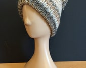 Hand Knitted bobble hat  browncream (partridge)