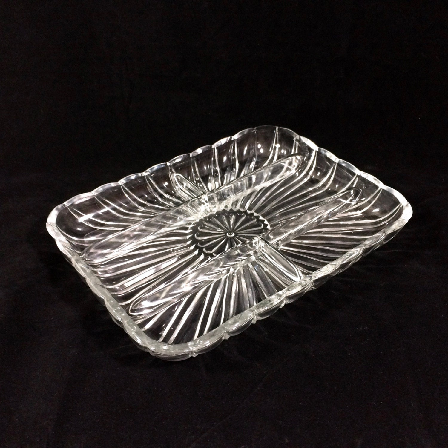 Large 10 Vintage Heisey Crystolite Divided Relish Tray