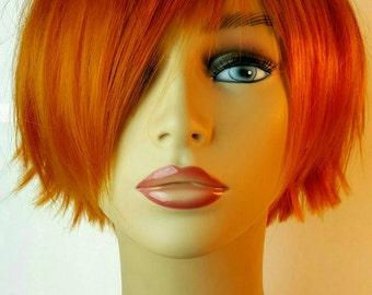 Short Orange Wig, Choppy Orange Layered Bob, Short Bob, Shoppy Bob, Copper Bob, Short Choppy Copper Bob