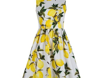 Pin up dress, Lemon dress, Sleeveless dress, Floral dress, Mother and daughter matching dress, Wedding dress, Bridesmaid dress, V neck MS08
