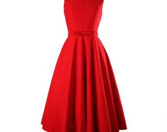 Wedding dress, Red dress, Bridal dress, Audrey Hepburn style dress, Retro dress, Boat neck dress, Lace dress, Formal dress, Flare dress MS71