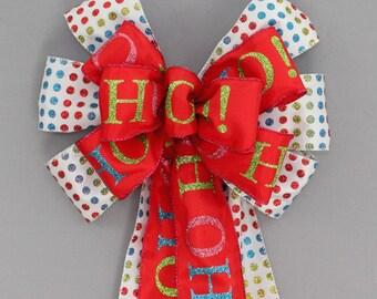 Bright Dot Ho Ho Christmas Bow - Christmas Wreath Bow, Red Christmas Bow, Garland Bow, Christmas Tree Topper, Turquoise Christmas Bow