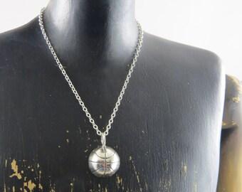 Basketball necklace, basketball jewelry, sterling silver basketball necklace, sports necklace, team jewelry, sports jewelry, team sports