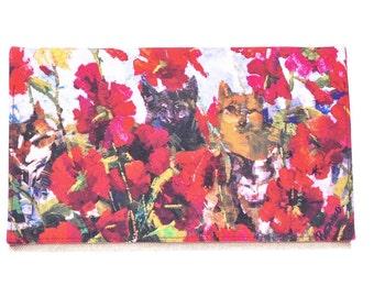 Red flower clutch bag, bridesmaid clutch, wedding clutch, evening clutch, clutch purse, red designer purse, everyday clutch, floral clutch