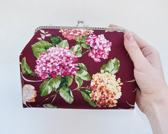 Wedding clutch, metal frame purse, cosmetic bag, wildflowers handbag, kiss lock purse, bridesmaid gift, burgundy, marsala, hortensia