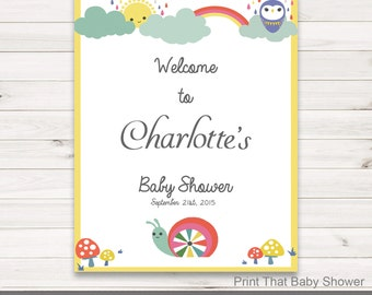 Baby Shower Welcome Sign - Rainbows and Clouds Baby Shower - Personalized Welcome Sign - Baby Shower Sign, Welcome Sign, Rainbows and Clouds