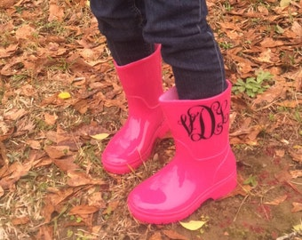 Kids Monogram Rain Boots - Monogram Rain Boots - Childrens Rain Boots - Childrens Accessories - Monogram Kids accessories - Toddler Rain Boo