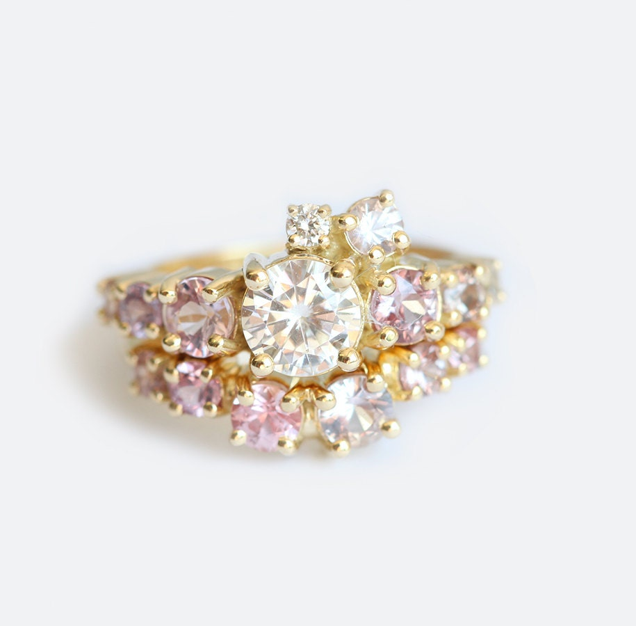 Cluster Diamond Ring Wedding Set Gold