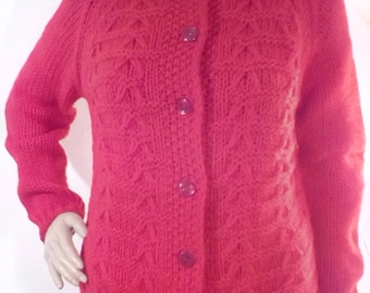 1950s Red Wool Cardigan Sweater