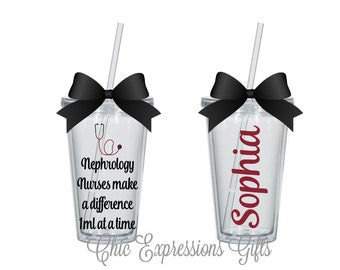 Nephrology nurses make a difference 1 ml at a time personalized tumbler - thank you gift - appreciation week