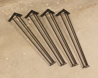 """Industrial Table Legs- 28"""" - Set of (4) Legs- 3/8"""" Smooth Round Bar"""