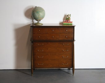 1960's Mid Century Modern Architectural High Boy Dresser by Huntley