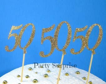 50th Cupcake Toppers Anniversary 50th Birthday Cupcake Toppers Gold Glitter 50 party decoration cake cupcake toppers