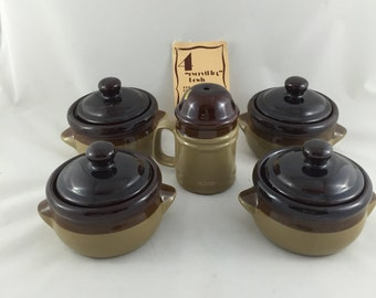 Vintage Stoneware Soup Bowls French Onion Crocks with Lids and Cheese Shaker