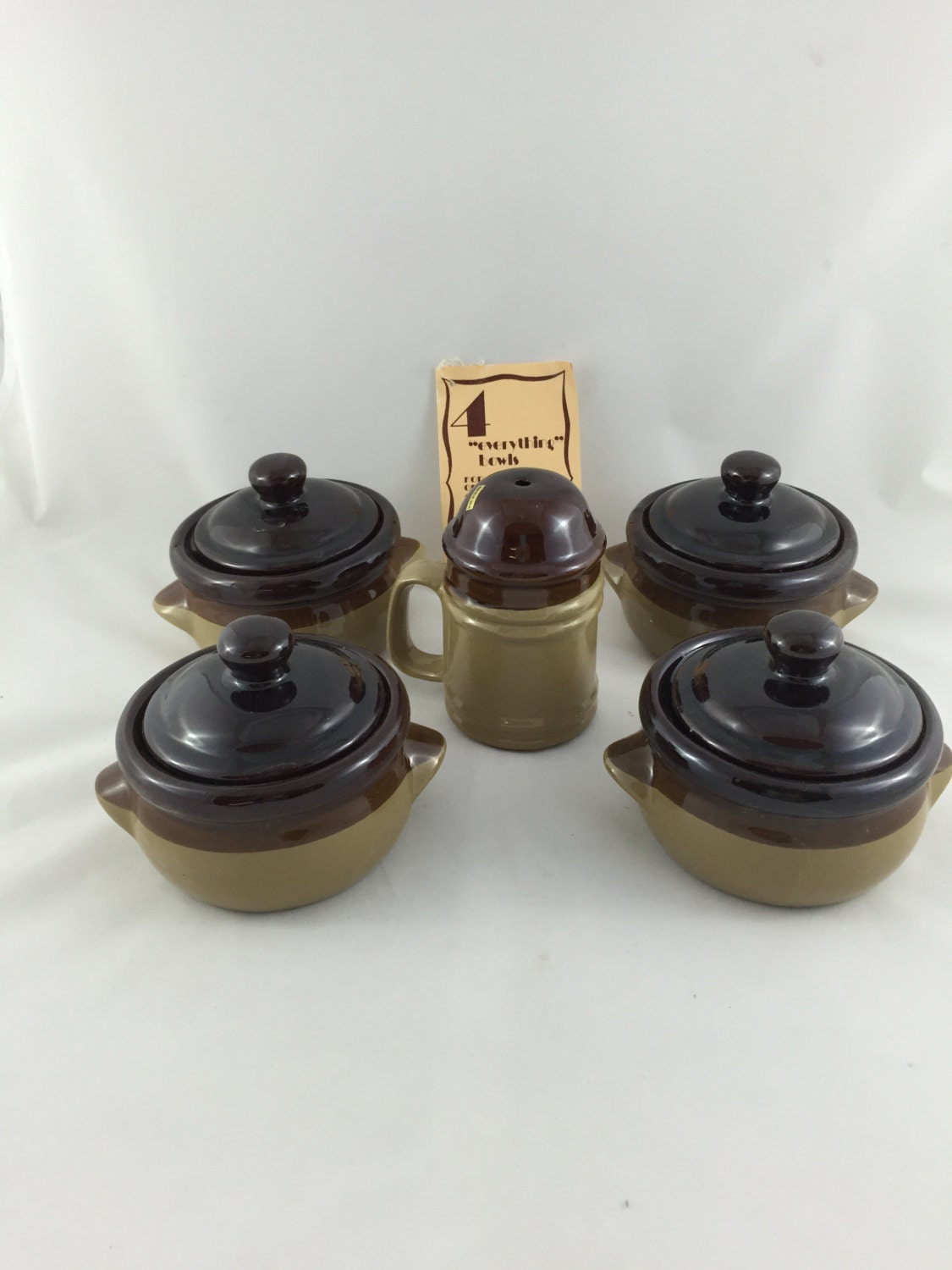 Vintage Stoneware Soup Bowls French Onion Crocks With Lids And