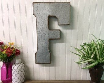 Large metal wall letter/Industrial Decor/Galvanized Letter/Letter F/Farmhouse decor/ Rustic wall/ Wedding Prop/Metal Letters