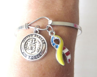US AIR FORCE Logo Charm Support Our Troops Stainless Steel Loop Bangle Bracelet
