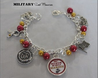 Marine Mom red and gold beaded charm bracelet, Proud Marine mom, Don't mess with me my son is a Marine beaded bracelet, Marine mom Jewelry