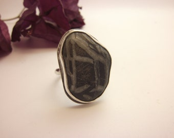 Black White Pebble Ring Beachstone Ring from Crete Greece Sterling Silver Design Pebble Beach Stone Beach Rock Handmade Sea Stone Jewel