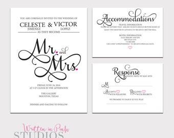 Printable Wedding Invitation Set, Invitation Template, Enclosure Card, Wedding Invitation, Wedding Invite Template
