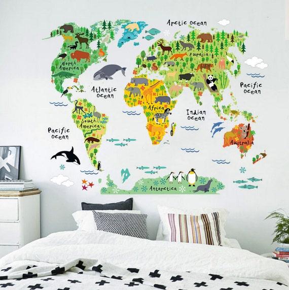 world map kids wall decals children wall stickers world map. Black Bedroom Furniture Sets. Home Design Ideas