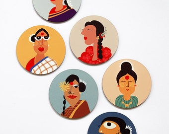 Women of India - Round Coasters - Water-Resistant MDF - 6 Piece Set