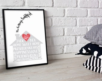 New Home Gift. New House Present. Housewarming Gift. A4 & A3 Print Can Be Personalised And Customised. Congratulations Gift