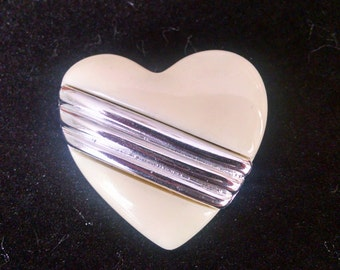 Vintage Heart Pin Cream and Silver Brooch