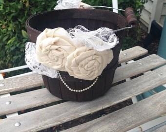 Flower Girl Basket Rustic Flower Girl Basket Shabby Chic Wedding Customized Flower Girl Basket Wedding Decor Rustic Wedding