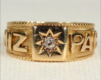 Antique Diamond Mizpah Ring in 18k Gold, Hallmarked 1891