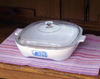 """Corning Ware Browning Skillet and Lid ~ 9-3/4 x 9-3/4 x 2-1/2"""" ~ Covered Casserole ~ 1970s ~ Amana Radarange ~ Colonial House"""