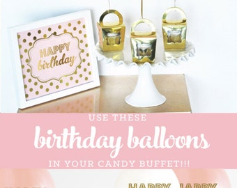 Pink and Gold Birthday Party Supplies Pink and Gold Birthday Party Ideas - Pink and Gold Birthday Invitation BALLOONS SET OF 3 (EB3110BIR)