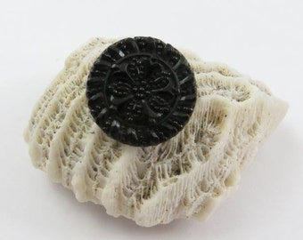 Antique Victorian Era Black Glass Button with Floral Design